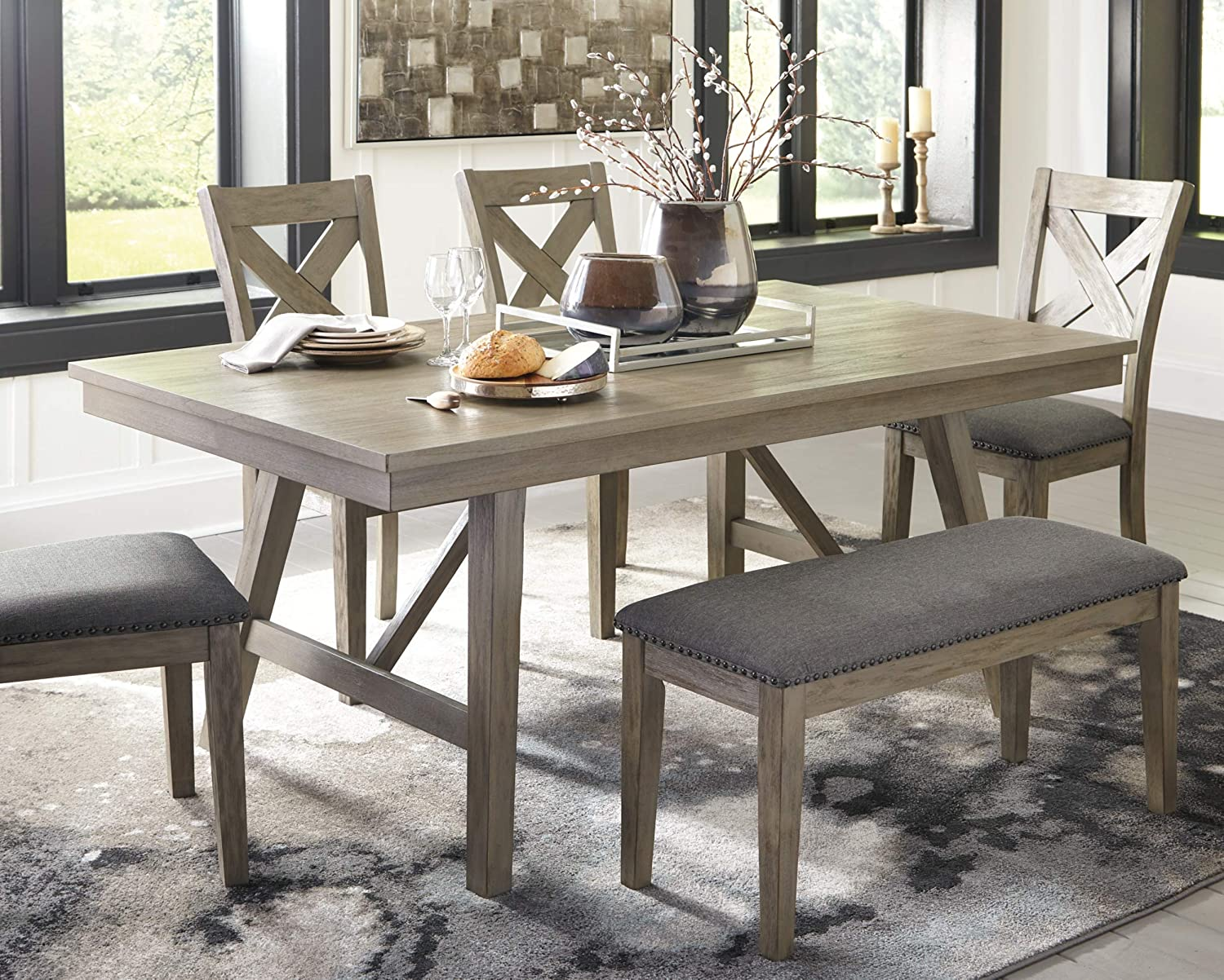 Signature Design by Ashley Dining Room Bench Upholstered Seat Aldwin Rustic Brown//Grey
