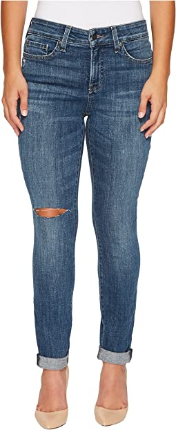 Petite Girlfriend Jeans w/ Knee Slit in Crosshatch Denim in Newton Knee Slit