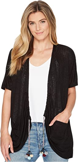 B Collection by Bobeau - Finley Rouched Cardigan with Tassel Trim