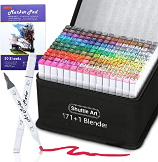 172 Colors Dual Tip Alcohol Based Art Markers,171 Colors Plus 1 Blender Permanent Marker 1 Marker Pad with Case Perfect fo...