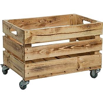 Nueva Kistenkolli Caja de plástico con ruedas (/caja, manzana caja, caja de vino del antiguo país + + + natural Dimensiones Aprox. 54 x 35 x 35 cm: Amazon.es: Hogar