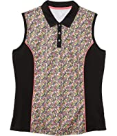 Sleeveless Vent Printed Ditsy Floral Polo