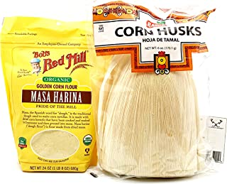 Tamale Bundle! Includes One (1) 24oz Package of Bob's Red Mill Organic Masa Harina Corn Flour, One (1) 6oz Package of Badi...