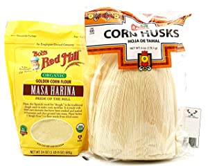 Tamale Bundle! Includes One (1) 24oz Package of Bob's Red Mill Organic Masa Harina Corn Flour, One (1) 6oz Package of Badia Corn Husks and a Recipe Card from Carefree Caribou!