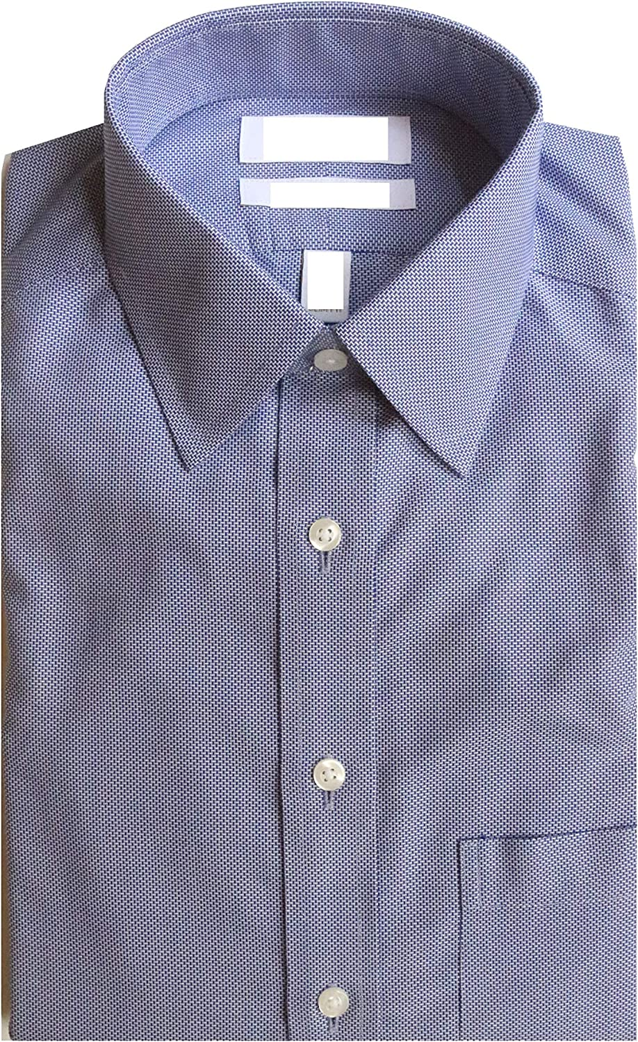 Gold Label Roundtree & Yorke Non-Iron Fitted Point Collar Check Dress Shirt G16A0149 Blue