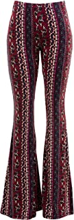 Womens Boho Comfy Stretchy Bell Bottom Flare Pants