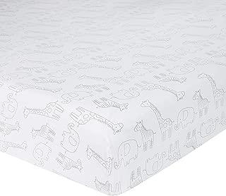 Just Born Little Dreamer Crib Sheet, White, Grey Safari, One Size