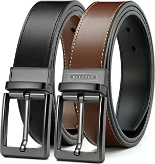 "Sponsored Ad - Mens Reversible Leather Belt 1 3/8"", Chaoren Dress Belt Black & Brown with Not-Pull-Rotated Buckle, Trim to..."