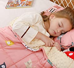 Buzio Weighted Blanket 2.3 kg for Kids, Ultra Cozy Minky Dotted and Cotton Heavy Blanket for Calming, 91x120 cm Pink Cat (...