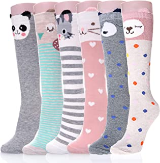 AOXION Girls Knee High Socks Cute Cartoon Animal Cotton Over Calf Stockings