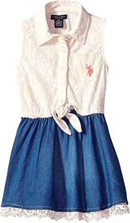 Vanilla Lace & Medium Blue Wash Skirt (Little Kids)