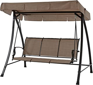 Mainstays Wesley Creek Porch Swing for 3-Person (Brown)