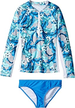 Seafolly Kids Jungle Geo Long Sleeve Surf Set (Big Kids)