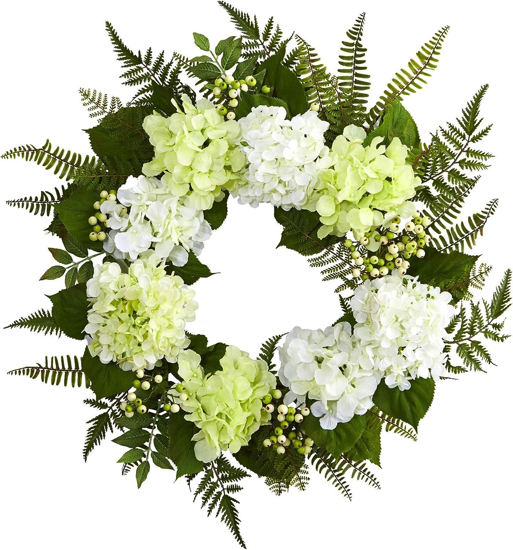 "Nearly Natural 24"" Hydrangea Berry Wreath, White"