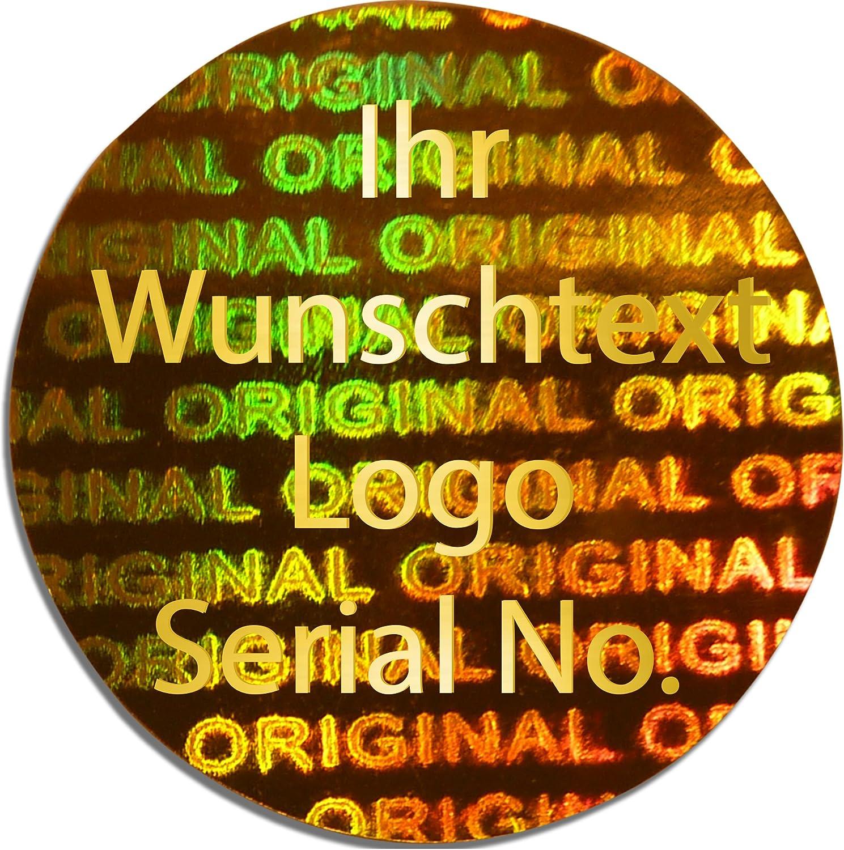 EtikettenWorld BV, EW-H-2800-GO-tgo-700, 700 Stück Stück Stück Hologrammaufkleber, 2D, 15x15mm Gold-glänzendfarbige Metallfolie, bedruckt in Gold-glänzend mit Ihrem Wunschtext Logo, Hologramm Etiketten, selbstklebend, Hologramm Aufkleber, Sicherheitssi aec7b4