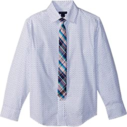 Long Sleeve Stretch Dot Print w/ Tie (Big Kids)
