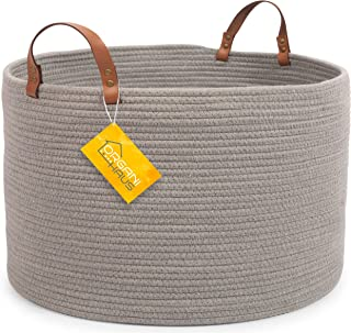 OrganiHaus XXL Extra Large Cotton Rope Basket with Real Leather Handles   Wide 20