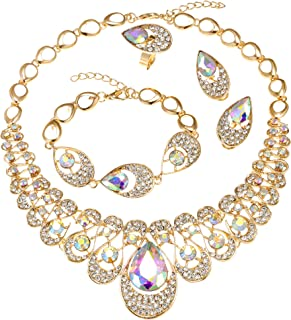 MOOCHI 18K Gold Plated Clear/Blue/Red Water Drop Rhinestone Pendant Necklace Bracelet Earrings Ring Jewelry Set for Women Wedding Costume Engagement Statement Accessories