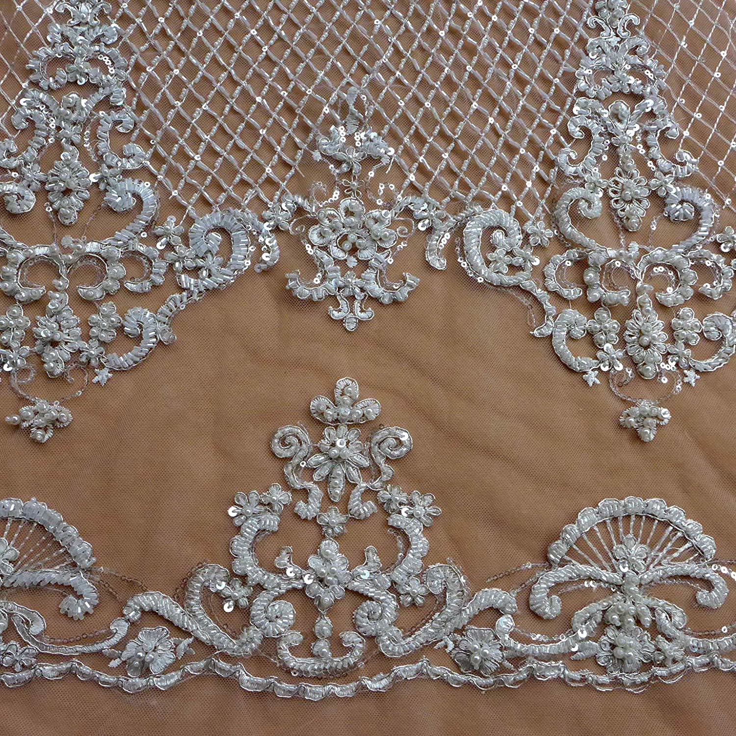 Super Luxury Full Sequined Beaded Lace Fabric Gauze 51 Inches Wide For Wedding Dress Veil Costume Bag DIY Supplies By The Yard