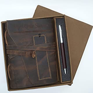 Handmade Vintage Leather Journal Set by My Write Supplies - Lined Paper and Wrap Around Cover and Tie - Pen and Leather Bookmark - Perfect Gift