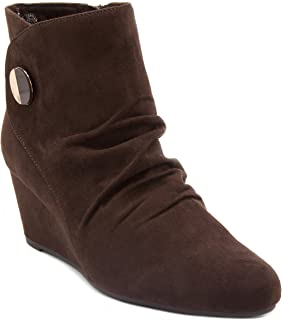 London Fog Womens Jules Wedged Ankle Bootie
