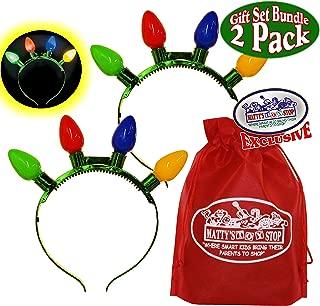 Christmas & Holiday Flashing Light Bulbs Headband with Bonus Matty's Toy Stop Storage Bag - 2 Pack