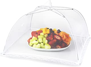 Mesh Outdoor Food Cover Tents (6 pack): Collapsible Umbrella Tents for Picnics, BBQ, Camping & Outdoor Cooking; Pop Up Screen Net & Plate Protector; Shields Food Plates & Glasses From Flies, Bugs