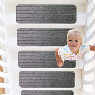 RainDecor Stair Treads Stripes Design Soft Carpet Surface with Slip Resistant Rubber Backing, Grey, 8 ½ inch X 27 ½ inch, 13 Pcs Set