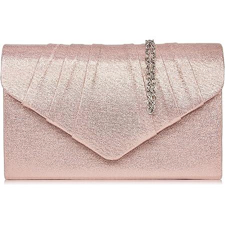 Milisente Clutch Damen, Elegante Wildleder Clutch Umschlag Crossbody Klassisch Clutch Tasche Abendtasche (leder Rose Gold)