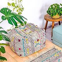 Capa de almofada de tapete impressa Mandala Life Art com bordado à mão – Quadrada 61 x 20 cm – Capa de almofada Boho Chic...