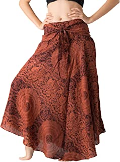 Bangkokpants Women's Long Maxi Hippie Bohemian Skirt Gypsy Dress Boho Clothes Flowers One Size Fits Asymmetric Hem Design