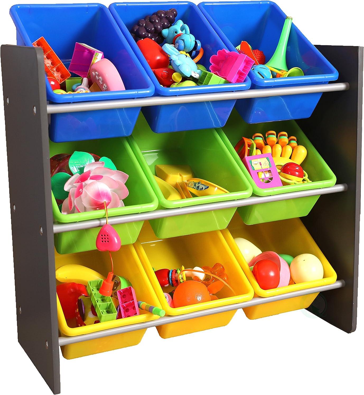 Basicwise QI003276 3-Tier Kid's Toy Storage Organizer with 9 Plastic Bins