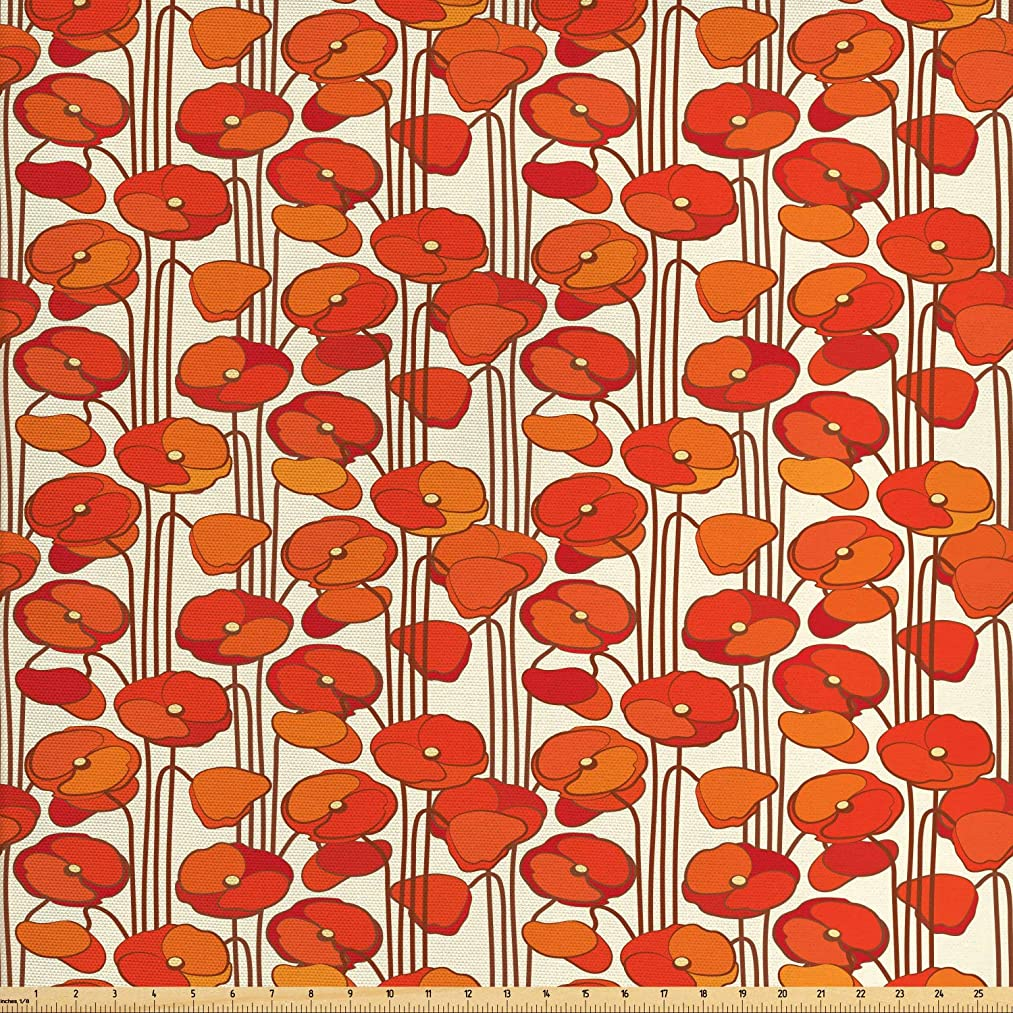 Ambesonne Floral Fabric by The Yard, Art Nouveau Style Poppy Flowers Retro Spring Summer Garden Foliage Petals, Decorative Fabric for Upholstery and Home Accents, 3 Yards, Orange and Ivory