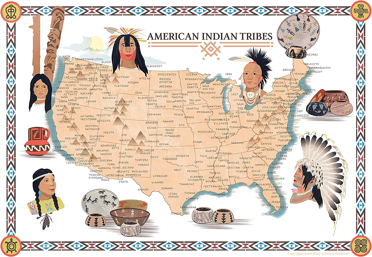 Amazon Com Riley Creative Solutions Native American Indian Tribe Map Usa History Poster Territory Tribal Spirit Nation Wall Art Home Decor 24 X36 Posters Prints