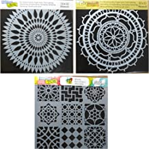 3 Crafters Workshop Large Mixed Media Stencils Set | for Arts, Card Making, Journaling, Scrapbooking | 12 Inch x 12 Inch Templates | To Make Mandala, Mexican Tile, Flower Designs and More