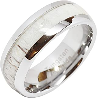 Tungsten Ring for Men Women Wedding Band Deer Antler Inlaid Dome Shape Size 6-16