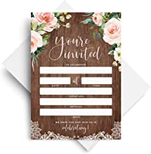 Bliss Collections Rustic Invitations with Envelopes for All Occasions, Wood and Floral Invites Perfect for: Weddings, Bridal Showers, Engagement, Birthday Party, Anniversary, Baptism, 25 Pack, 5x7