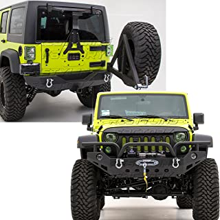 Restyling Factory -Front Bumper with OE Fog Light Hole & 2x D-Ring+Rear Bumper with Tire Carrier & 2