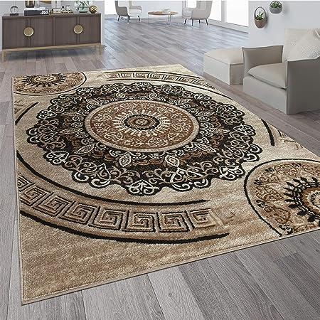Paco Home Designer Wohnzimmer Teppich Orientalisch Mandala Motive Braun  Beige, Grösse:10x10 cm