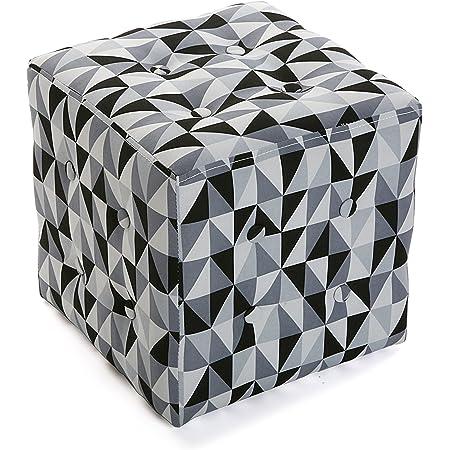 Versa 19501326 Sgabello cubo puff sedia Rhune,35x35x35 Bianco Nero Grigio