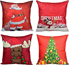 Wonder4 Merry Christmas Throw Pillow Covers Xmas Decorations Pillow Cases Christmas Tree,Christmas Deer,Santa Claus, Snowman Merry Christmas Pillow Covers Sofa Cushion Cases 18 x 18 Inch Set of 4