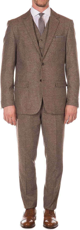 Ferrecci Men's York Herringbone Slim Fit 3 Piece Suit (Brown, 38L)