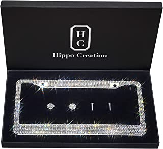 Anti-Theft Screw Cap Stainless Steel Frames Sparkle Glass Diamond Decorate Pack of 2 Universal Car Exterior Accessories VD Customized Bling Car License Plate Frame with Black Rhinestone
