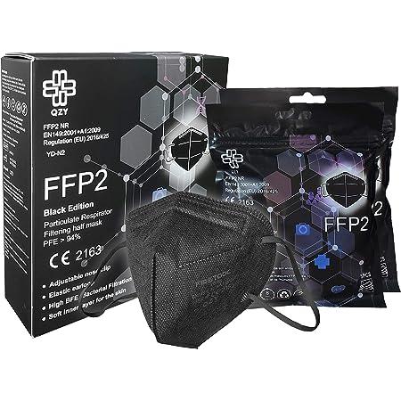 Masque FFP2 Noir [Black Edition] Boîte 10 pièces Certifié CE avec Élastiques & Clip de Nez Adaptable 5 Epaisseurs De Filtration, Protection Respiratoire Masques Jetables