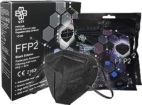 Masker FFP2 zwart [Black Edition] Box 10 stuks CE-gecertificeerd met elastieken & neusclip, aanpasbaar, 5 filterdiktes, ad...