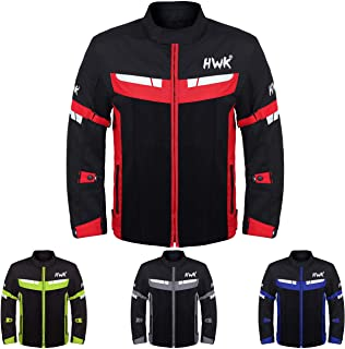 HWK Mesh Motorcycle Jacket Riding Air Motorbike Jacket Biker CE Armored Breathable (XX-Large, Red)