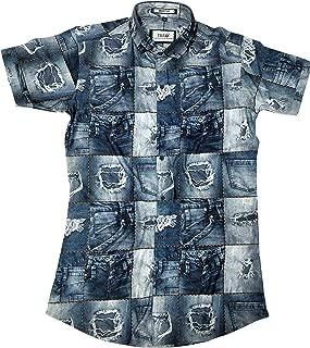 4ssss Causal Hosiyari Lycra Digital Printed Short Sleeves Slim Fit Shirt for Men 1 Gift Free [ Please Check The Size Chart]
