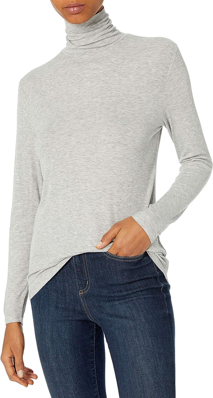 Brand Daily Ritual Womens Rayon Spandex Fine Rib Long-Sleeve Layering Turtleneck