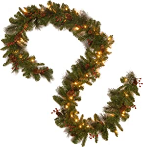 """National Tree 9' x 10"""" Crestwood Spruce Garland with 50 Battery Operated Warm White Lights and Timer (CW7-306-9A-B1)"""