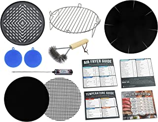 Air Fryer 7 inch Grill Rack & Pan Accessories Kit Compatible with Ninja, GoWise USA, Chefman, Maxi-Matic Elite Platinum, C...